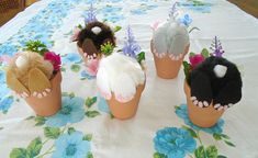 Curious Little Bunny Pots / Whimsical Decoration / Bunny In