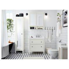 IKEA - HEMNES / RÄTTVIKEN, Skab til vask med 2 skuffer, hvid, , Letløbende skuffer med skuffestop. Lukker blødt.Skufferne har fuldt udtræk, og det gi'r overblik og nem adgang til indholdet.Den medfølgende vandlås er fleksibel, så den er nem at forbinde til afløb, vaskemaskine eller tørretumbler.Vandlåsens unikke design gi'r plads til en skuffe i fuld størrelse.