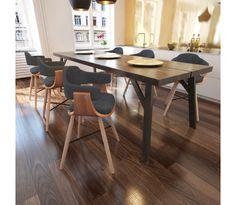 Eetkamerstoel gebogen hout met stoffen bekleding 6 stuks