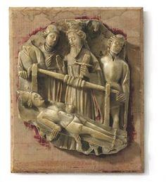 A NOTTINGHAM ALABASTER RELIEF OF THE MATRYDOM OF SAINT ERASMUS