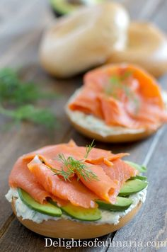 Open-faced smoked salmon bagel sandwich