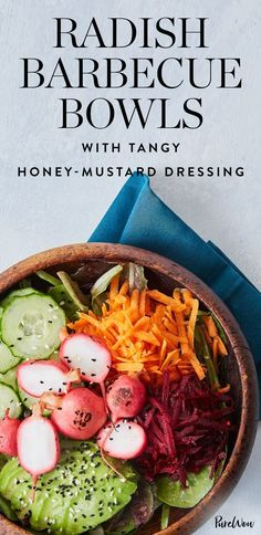 Radish Barbecue Bowls with Tangy Honey-Mustard Dressing #purewow #food #recipe #vegetarian #grilling #cooking