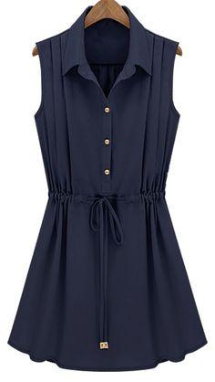Navy Sleeveless Drawstring Waist Pleated Chiffon Shirt Dress