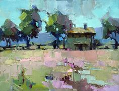 Rose-Colored Field by Trisha Adams Oil ~ 11 x 14