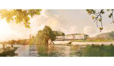 Rendu pour le projet de réhabilitation de l'hôtel des Romanciers à Medan, Larour architectes iconomade