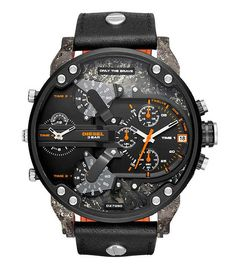 Diesel Men's Mr Daddy Quartz Stainless Steel and Leather Chronograph Watch My Trending Lifestyles Stylings of a Gentleman Men's Watches www. Men's Watches, Luxury Watches, Cool Watches, Casual Watches, Fashion Watches, Male Watches, Breitling Watches, Fossil Watches, Elegant Watches