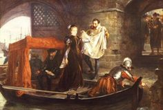 """Mary Queen of Scots arriving at the Tower of London by Robert Hillingford (GL)"" Don't think she was ever held there. When she returned from France, she naturally enough went to Scotland, not England. Mary Queen Of Scots, Queen Mary, Queen Elizabeth, Tudor History, British History, House Of Stuart, Tudor Dynasty, Catherine Of Aragon, Tudor Era"