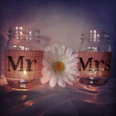Tan Burlap Mr and Mrs Mason Jar Set Burlap Wedding Decorations Mason Jar Wedding Decoration Mason Jar Drinking Glasses
