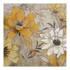 Vintage Yellow & Gray Floral Canvas Art Print | Kirklands
