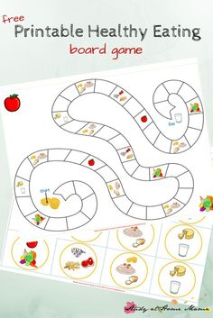 Kids Kitchen: Healthy Eating Game Printable Kids Kitchen: Free Printable Board Game for Teaching Kids About Healthy Eating. Includes info on how much children should eat from each of the four food groups, and four different ways to play! Food Games For Kids, Activities For Kids, Food Groups For Kids, Children Games, Nutrition Activities, Kids Nutrition, Nutrition Education, Nutrition Guide, Nutrition Chart