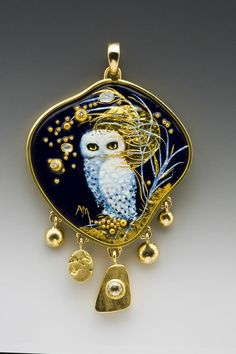 Enamels by Mona and Alex Szabados. Each enamel is built up gradually using transparent enamel with pure gold foil, silver foil and gold granules in approximately 30 layers and firings. George Post Photo. www.monaenamels.com