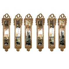 Set of Six Italian Carved Giltwood Mirrors | From a unique collection of antique and modern wall mirrors at https://www.1stdibs.com/furniture/mirrors/wall-mirrors/