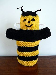 Bumble Bee Hand Puppet by Janet McGregor - his pattern is available for free. You will need: Small amount of black and yellow double knitting wool. Oddment of white or grey for wings. Needles: 1 pair size 8 or 7 (4 mm or 4.5mm) needles.  For more information, see: http://puppetystuff.blogspot.co.uk/2012/05/bumble-bee-puppet-knitting-pattern.html
