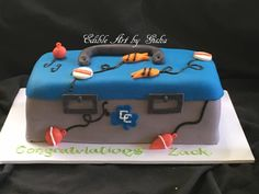 Tackle box graduation cake for a guy in the fishing team Fishing Theme Cake, Cake Decorating, Decorating Ideas, Graduation Cake, Tackle Box, Cake Creations, Themed Cakes, Butter Dish, Birthday Ideas