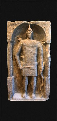 Hadrian's Wall tombstone excavation, funerary relief of Syrian Auxiliary archer.