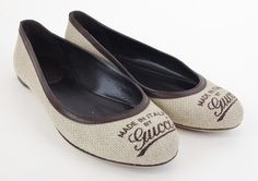 Gucci Brown Canvas Women's Size 4 Flats