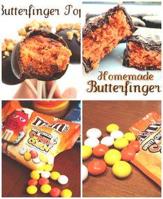 Butterfingers Pops//  650g de pacote de milho de doces M&M(veja fotos)- 650g de manteiga de amendoim- 650g de chocolate derrete ou revestimento doce de chocolate / casca