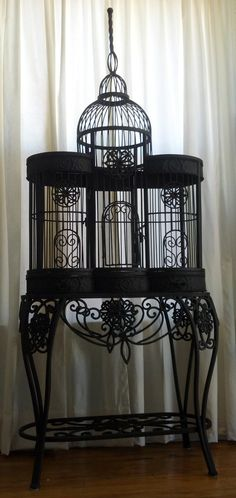One of a Kind Gothic Bird Cage Mansion Unusual Avant Garde Black Fetish Iron 6 Feet Tall Spire Statement Piece Goth Home, Gothic Furniture, Wicker Furniture, Ivy House, Gothic House, Gothic Castle, Bird Cages, Decoration Design, Bird Houses