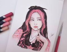 Kpop Drawings, Art Drawings Sketches Simple, Pencil Art Drawings, Colorful Drawings, Art Painting Gallery, Celebrity Drawings, Korean Art, Hippie Art, Cute Animal Drawings