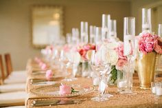 Glamorous pink and gold tablescape #wedding #reception #goldwedding #pinkwedding #tablescape