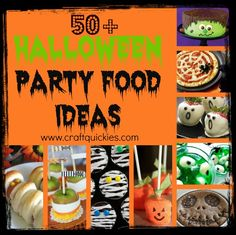 fun, spooky, and festive Halloween party food ideas gathered up by Sarah from Craft Quickies! Halloween Goodies, Halloween Food For Party, Halloween Birthday, Spooky Halloween, Holidays Halloween, Halloween Treats, Happy Halloween, Halloween Decorations, Halloween Baking