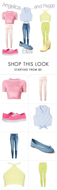"""""""The Schuyler Sisters!!! Modernized!!"""" by thegirlwithglasses1354 ❤ liked on Polyvore featuring T By Alexander Wang, Balmain, Vans, H&M, Gap, Topshop, Coolway and modern"""