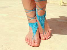 Barefoot sandals, blue crochet sandals. barefoot sandles,  crochet barefoot sandals, jewelry for the foot from Soft Crystal