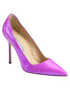 Manolo Blahnik BB Patent Leather Point Toe Pumps in Purple