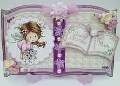 Hello Crafters - thank you for all the gorgeous cards you submitted for the Ribbon Girl April Card Challenge - the winner of the first priz. Fancy Fold Cards, Folded Cards, Book And Frame, Whimsy Stamps, Card Book, Easel Cards, Paper Folding, Card Making Inspiration, Girl Blog