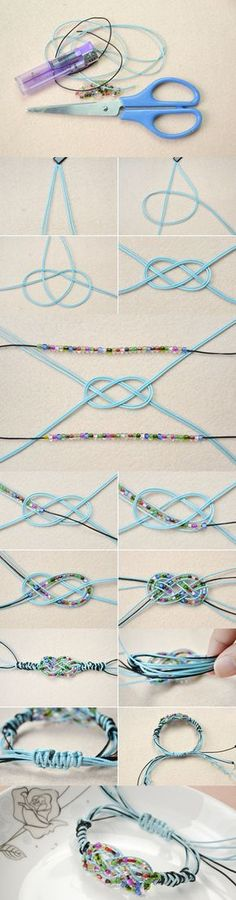 Tutorial on How to Make a Sailor Knot Friendship Bracelet with Pony Beads from LC.Pandahall.com