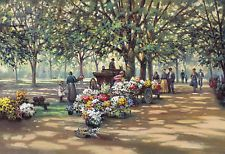 Paul Landry Summer Potpourri Art Serigraph Flowermarket With