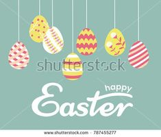 a vector greeting card or background; hanging patterned eggs for easter hunting; a set of hand drawn objects;  in trendy style; with phrase Happy Easter