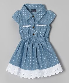 Another great find on #zulily! Light Blue Denim Polka Dot Dress - Infant & Toddler by Sweet & Soft #zulilyfinds