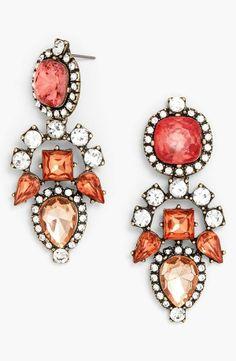 Prom jewelry - Pink BaubleBar crystal drop earrings
