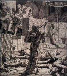Alfred Rethel (Aachen, 1816-Düsseldorf, 1859), La mort assassine, 1847-49. Gravure sur bois, Dresde, Kupferstich-Kabinett. Zig et zig et zig, la mort en cadence Frappant une tombe avec son talon, La mort à minuit joue un air de danse, Zig et zig et zag,...