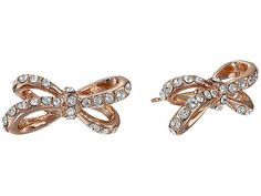 Kate Spade New York Tied Up Pave Studs Earrings Clear/Rose Gold - Zappos Couture