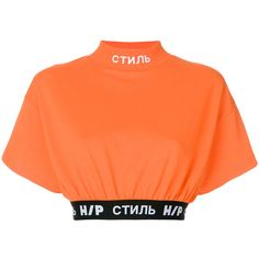 Heron Preston Style crop top (12.070 RUB) ❤ liked on Polyvore featuring tops, shirts, cropped, crop tops, shirt top, collared crop top, orange collared shirt and short-sleeve shirt