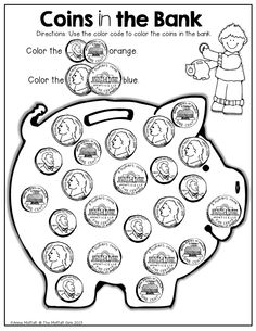 Printables Coin Worksheets coins kindergarten behavior and brooke dorsay on pinterest in the bank identify coin color by code what a