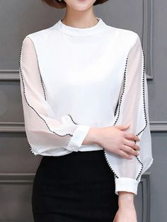 0d4c2cf36a Autumn Spring Chiffon Women Band Collar Contrast Stitching Hollow Out Puff  Sleeve Long Sleeve Blouses