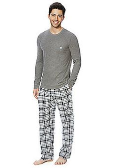 F&F Checked Bottoms Waffle Top Loungewear Set - Black
