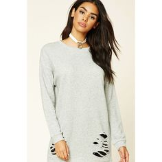 Forever 21 Women's  Longline Distressed Sweatshirt ($16) ❤ liked on Polyvore featuring tops, hoodies, sweatshirts, distressed top, white sweatshirt, forever 21 sweatshirt, forever 21 and ripped tops