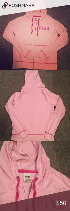 🆕 EUC VS PINK Pink Logo Front-Zipper Hoodie. Med 🆕 EUC VS PINK Pink Logo Front-Zipper Hoodie size Medium. PINK Victoria's Secret Tops Sweatshirts & Hoodies