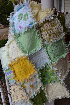 Flannel Rag Quilt Green and Yellow