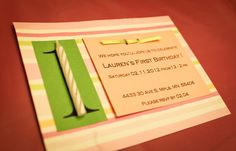 Blog with cute party bday ideas. First birthday invites.