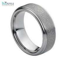 8mm Men's Tungsten Carbide Laser Engraved Celtic Knot Pattern Wedding Engagement Band Ring