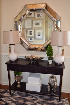 Design Ideas ~ Foyer Decor With Entryway Console Table And Large Silver Mirror Console Table Decorating Ideas. Decorating Ideas For A Console Table. Decorating Ideas For Console Table Behind Couch. Hall Table Decor, Entrance Hall Tables, Entry Tables, Table Decorations, Entrance Foyer, Narrow Entryway Table, Modern Entryway, Entryway Decor, Grand Entryway