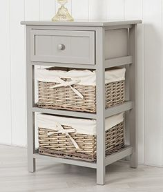 Tall Grey Bedside Unit Table With 2 X Wicker Storage Draw... Https: