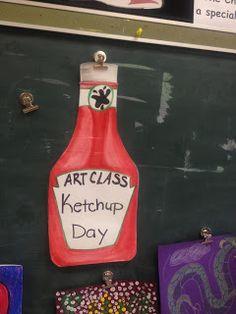 """That Little Art Teacher: """"Ketchup Day"""" in the Art Room Art Classroom Posters, Art Classroom Decor, Art Room Posters, Art Classroom Management, Classroom Displays, Classroom Organization, Classroom Ideas, Classroom Behavior, Class Management"""