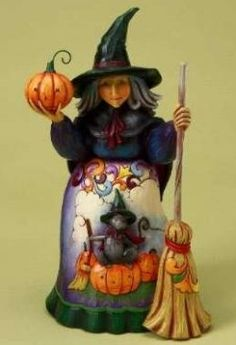 Jim Shore Witch and Pumpkins Figurine