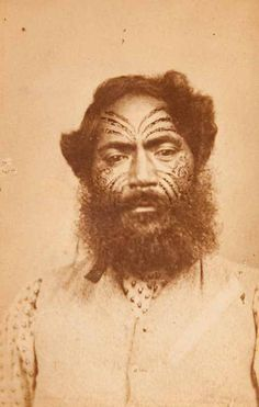 Portrait of a Maori Chief by G. Pullman, 19th century. Albumen